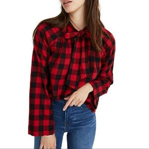 NWT Madewell Tie-Neck Popover Plaid Shirt Size S